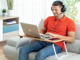 Mesa Portátil Dobrável Multiusos, para comer ou trabalhar, na cama ou sofá, por 29€. Suporte para caneta e smartphone ou tablet. VER VIDEO. PORTES INCLUIDOS.