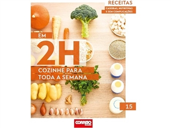 """No último volume de """"Em 2h cozinhe para toda a semana"""", surpreenda-se com a quiche de queijo e brócolos, uma saudável quinoa com abóbora e um creme de aipo com vieiras."""