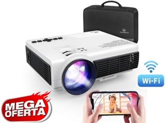 Mini Projetor HD com Wi-Fi, 3600 Lumens, Tecnologia Screen Mirroring, Comando e Mala por 152€. Jogar e Ver em Grande do seu Smartphone. VER VIDEO. PORTES INCLUIDOS.