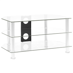 Móvel de TV 75x40x40 cm vidro temperado transparente por 83.82€ PORTES INCLUÍDOS