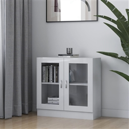 Armário vitrine 82,5x30,5x80 cm contraplacado branco brilhante por 122.10€ PORTES INCLUÍDOS