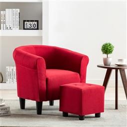 2 pcs conjunto de poltrona e banco tecido vermelho tinto por 279.18€ PORTES INCLUÍDOS