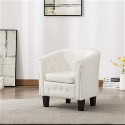 Poltrona em couro artificial branco por 174.90€ PORTES INCLUÍDOS