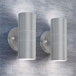 Candeeiros LED parede iluminação sup/inf exterior 2 pcs aço inox. por 69.96€ PORTES INCLUÍDOS