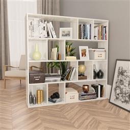 Divisória/estante 110x24x110 cm contraplacado branco brilhante por 153.12€ PORTES INCLUÍDOS
