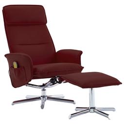Poltrona massagens + apoio pés couro artificial vermelho tinto por 304.92€ PORTES INCLUÍDOS