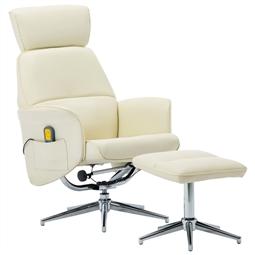 Poltrona massagens + apoio de pés couro artificial branco por 319.44€ PORTES INCLUÍDOS