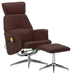 Poltrona massagens recli. + apoio pés couro artificial castanho por 319.44€ PORTES INCLUÍDOS