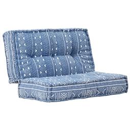 Sofá 120x120x20 cm tecido azul índigo por 238.92€ PORTES INCLUÍDOS