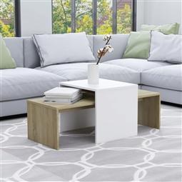 Conjunto mesas centro 100x48x40cm contraplacado branco/carvalho por 93.06€ PORTES INCLUÍDOS