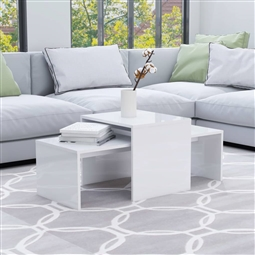 Conjunto mesas centro 100x48x40cm contrapla. branco brilhante por 119.46€ PORTES INCLUÍDOS