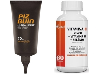 Protector Solar PIZ BUIN e OFERTA: VITAMINA C + ZINCO + VITAMINA D + SELÉNIO por 18€. Proteja-se do Sol e Reforce o Sistema Imunitário. ENVIO IMEDIATO! PORTES INCLUÍDOS.