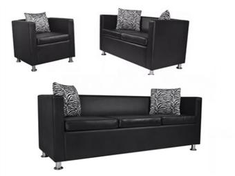 Conjunto sofás de 2 e 3 lugares + poltrona couro artific. preto por 1061.28€ PORTES INCLUÍDOS