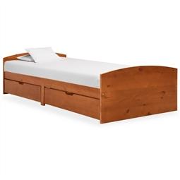 Estrutura cama c/ 2 gavetas 90x200 cm pinho maciço castanho mel por 273.90€ PORTES INCLUÍDOS