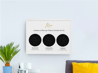 Até 3 Mapas de Estrelas Personalizáveis, de 30x40cm e Várias opções de Material desde 9.99€. Presentes Únicos em Família!