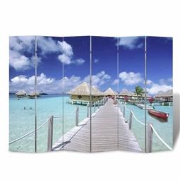 Biombo dobrável com estampa de praia 240x170 cm por 199.98€ PORTES INCLUÍDOS
