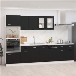 7 pcs conjunto armários de cozinha contraplacado preto por 895.62€ PORTES INCLUÍDOS