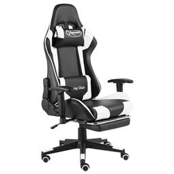 Cadeira de gaming giratória com apoio de pés PVC branco por 281.82€ PORTES INCLUÍDOS