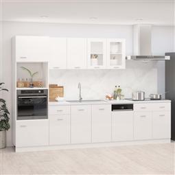 7 pcs conj. armários de cozinha contraplacado branco brilhante por 917.40€ PORTES INCLUÍDOS