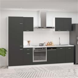7 pcs conjunto armários de cozinha contraplacado cinzento por 796.62€ PORTES INCLUÍDOS