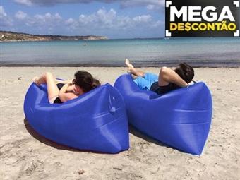 MEGA DESCONTÃO: Hangout Auto-Insuflável Azul com Bolsa de Transporte desde 13€. Ideal para campismo, piscina, jardim, festivais e praia. PORTES INCLUÍDOS.