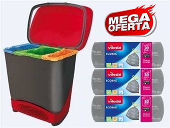 MEGA DESCONTÃO: Balde Eco-Logic com 3 Rolos de Sacos de Lixo Ecobag da VILEDA desde 20€. VER VIDEO. PORTES INCLUIDOS.