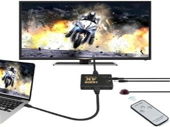 Switch HDMI 4K com 3 Portas e Comando desde 8€. Permite conexão até 3 dispositivos. Conversão sem perda de qualidade. PORTES INCLUIDOS.