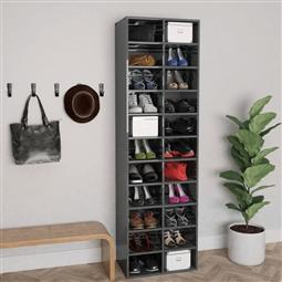 Armário p/ sapatos 54x34x183cm contraplacado cinzento brilhante por 248.16€ PORTES INCLUÍDOS
