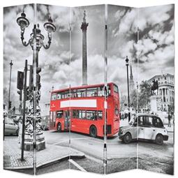 Biombo dobrável autocarro londrino 200x170 cm preto e branco por 178.20€ PORTES INCLUÍDOS