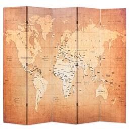 Biombo dobrável mapa mundo 200x170 cm amarelo por 178.20€ PORTES INCLUÍDOS