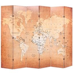 Biombo dobrável mapa mundo 228x170 cm amarelo por 196.68€ PORTES INCLUÍDOS
