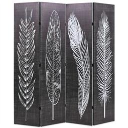 Biombo dobrável com estampa de penas 160x170 cm preto e branco por 151.80€ PORTES INCLUÍDOS