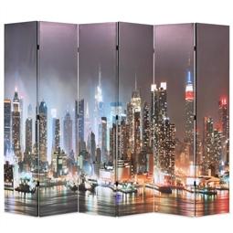 Biombo dobrável Nova Iorque de noite 228x170 cm por 223.08€ PORTES INCLUÍDOS