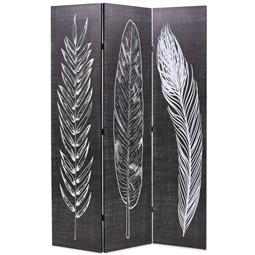 Biombo dobrável com estampa de penas 120x170 cm preto e branco por 116.16€ PORTES INCLUÍDOS