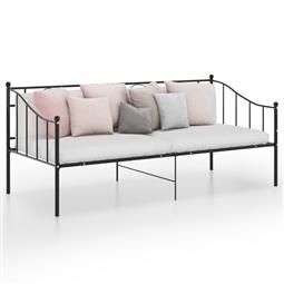 Sofá-cama 90x200 cm metal preto por 188.76€ PORTES INCLUÍDOS