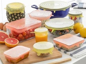 10 Tampas de Cozinha Reutilizáveis e Ajustáveis por 17€. VER VIDEO. PORTES INCLUIDOS.