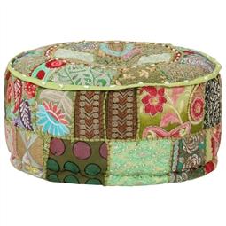 Pufe de retalhos redondo algodão artesanal 40x20 cm verde por 81.84€ PORTES INCLUÍDOS