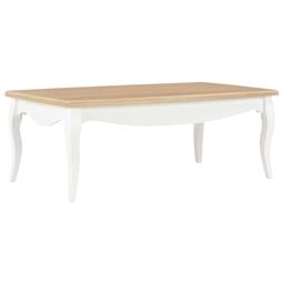 Mesa de centro 110x60x40 cm pinho maciço branco e castanho por 252.78€ PORTES INCLUÍDOS