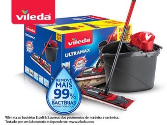 Ultramax da VILEDA: Balde com Espremedor e Mopa com Cabo Tripartido por 33€. PORTES INCLUIDOS.