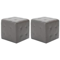 Mesas de cabeceira 2 pcs 30x30x30 cm couro artificial cinzento por 99.00€ PORTES INCLUÍDOS