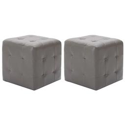 Pufe 2 pcs 30x30x30 cm couro artificial cinzento por 99.00€ PORTES INCLUÍDOS