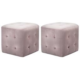 Pufe 2 pcs 30x30x30 cm veludo rosa por 106.92€ PORTES INCLUÍDOS