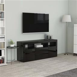 Móvel de TV 120x30x50 cm contraplacado preto brilhante por 137.94€ PORTES INCLUÍDOS