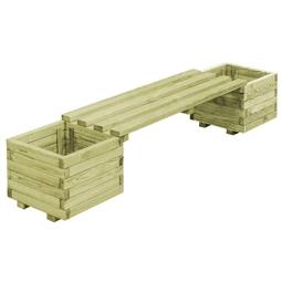 Banco de jardim com vasos madeira de pinho impregnada FSC por 170.28€ PORTES INCLUÍDOS