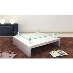 Mesa de centro com tampo de vidro, branco por 279.18€ PORTES INCLUÍDOS