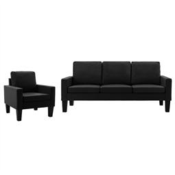 2 pcs conjunto de sofás couro artificial preto por 686.40€ PORTES INCLUÍDOS