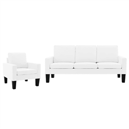 2 pcs conjunto de sofás couro artificial branco por 686.40€ PORTES INCLUÍDOS