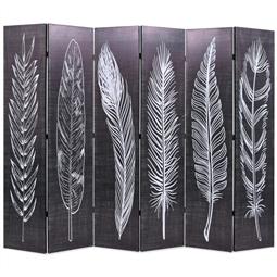 Biombo dobrável com estampa de penas 228x170 cm preto e branco por 204.60€ PORTES INCLUÍDOS