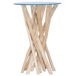 Mesa de centro c/ tampo de vidro 35x35x50cm madeira teca maciça por 121.44€ PORTES INCLUÍDOS