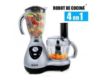 Processador de Alimentos 4 em 1 com lâminas de Aço Inoxidável por 55€. Cozinha Rápida e Saborosa. PORTES INCLUÍDOS!
